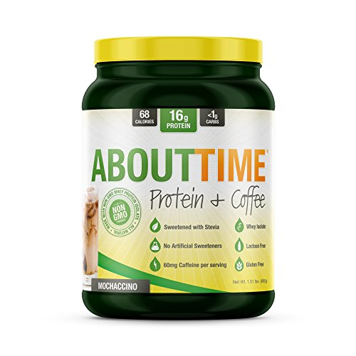 About Time Whey Isolate Protein Plus, Non-GMO, All Natural, Lactose/Gluten Free, 16g of Protein Per Serving (Coffee Mochaccino) -1.5 Pounds)