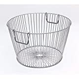 Silver Wire Basket with Handles Round Silver Steel Wire 12'' Dia x 19'' H