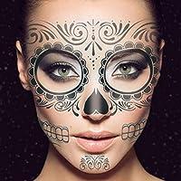Artibetter 3 hojas Tatuaje temporal de la cara esqueleto negro día ...