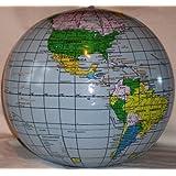 "Inflatable Earth Globe Beach Ball 16"" -Blue Oceans"