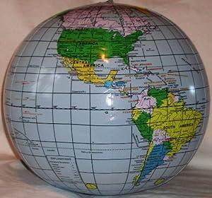 "Amazon.com: Inflatable Earth Globe Beach Ball 16"" -Blue ..."
