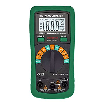 AIMOMETER Digital Multimeter frequency measurement 2000 Capacitance, 200KHz Back Light, Over Load Protection (MS8233D)