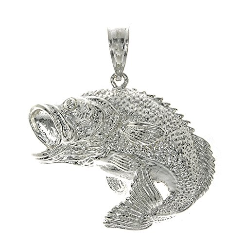 925 Sterling Silver Nautical Charm Pendant, Large Bass Fish Jumping 2-D