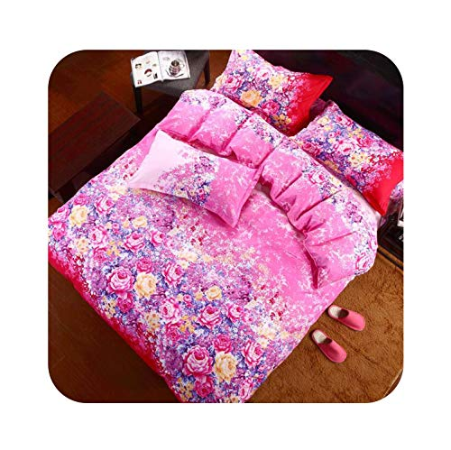 - Rural Princess Printing Lovely Flowers 4pcs/3pcs Quilt Cover Sets Soft Polyester Bed Linen Flat Bed Sheet Set Pillowcase,6,Twin Cover 150x200cm