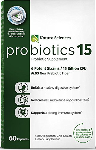 Probiotics 15 Billion CFU Advanced Probiotic Supplement; 60 Easy to Swallow Time Released Capsules in Dry Nitrogen Filled Blister Packs, Guaranteed with Live Cultures, 60 Servings, 1 Serving Per Day