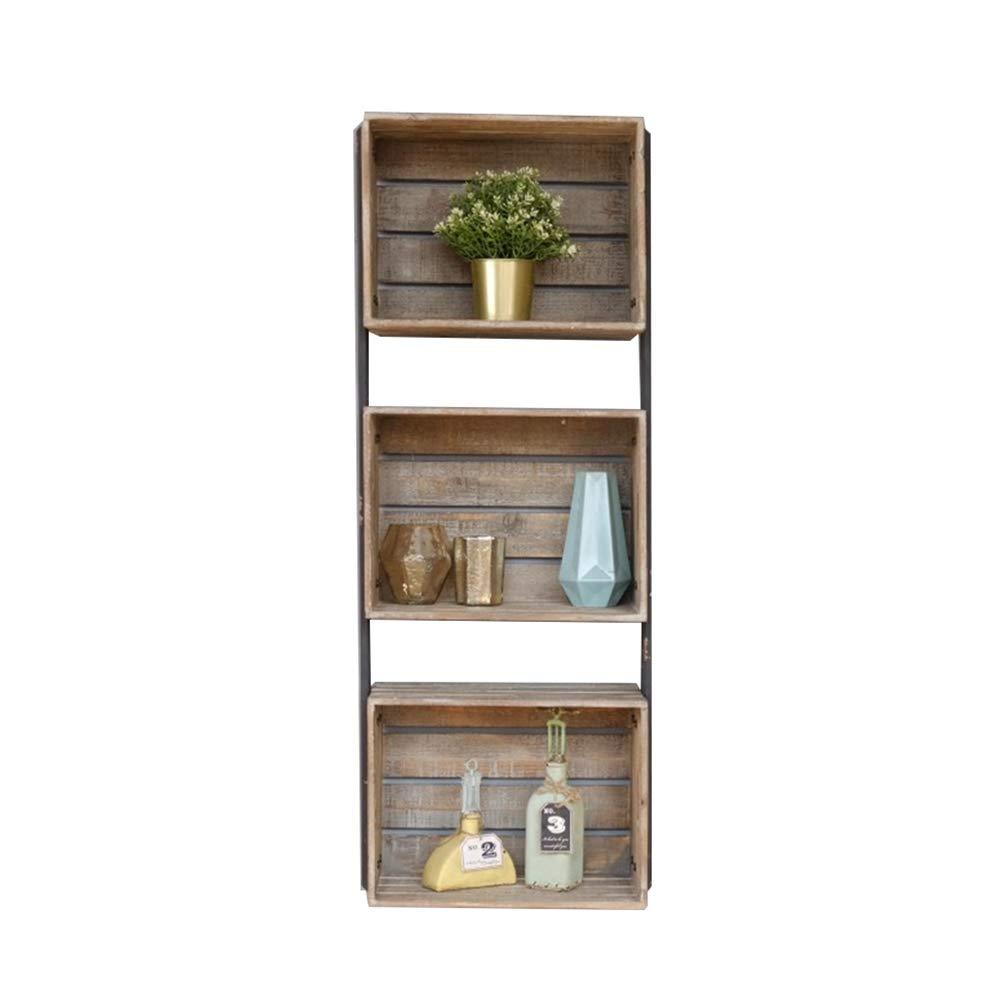 LIANGJUN 壁掛け棚 物品棚アメリカンスタイル 木製 矩形 食器棚 ストレージ 整理する 、3層 (色 : ウッド うっど, サイズ さいず : 42.5x23x112cm) B07JFC3485 ウッド うっど 42.5x23x112cm