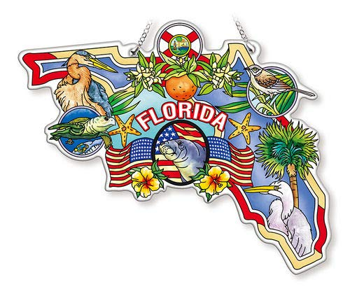 Amia Florida Water-Cut Shaped Glass Suncatcher Multicolored