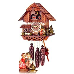 Original Eight Day Movement Cuckoo Clock with Turning Mill Wheel and Couple Kissing 13.5 Inch