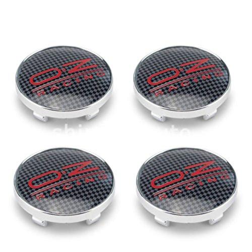 chuchu88 4x OZ Racing 68mm Alloy Wheel Hub Centre Caps Cap, Black Red Carbon Fiber