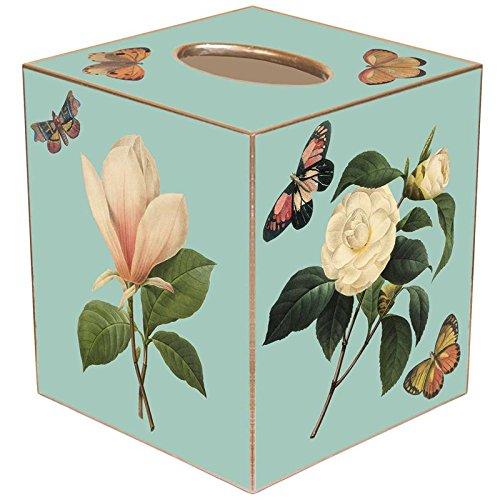 Marye-Kelley TB1-Aqua Magnolia & Peony Tissue Box Cover (Box Peony)
