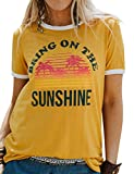 Nlife Women Casual Bring On The Sunshine Letter Print Dri-Fit T-Shirt Women Short Sleeve T-Shirt Tops