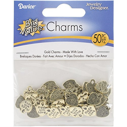 Darice 50-Piece 'Made with Love' Charms, Gold