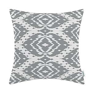 CaliTime Cushion Cover Throw Pillow Shell 18 X 18 Inches, Modern Ikat Geometric, Gray