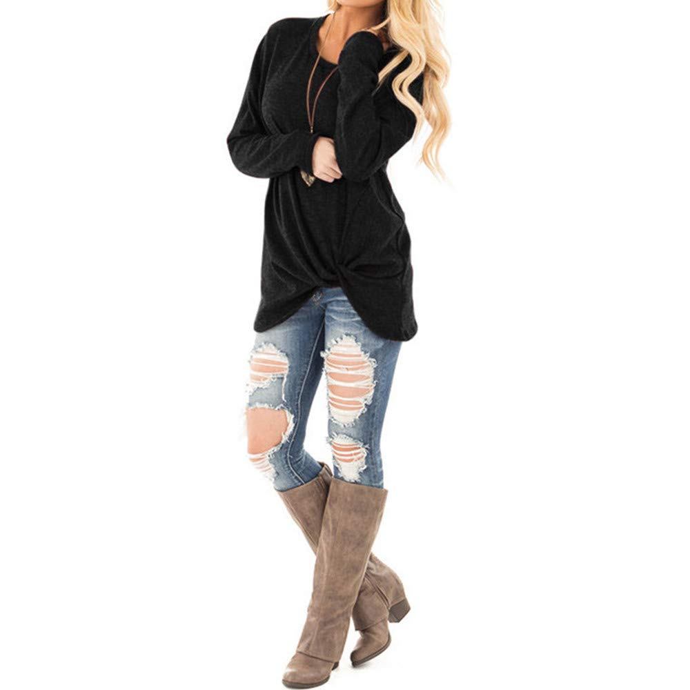 Usstore  Women Girls Kink Casual T-Shirt Fall Winter Mandatory Loose Long Sleeve O-Neck Daily Blouse Tops Pullover