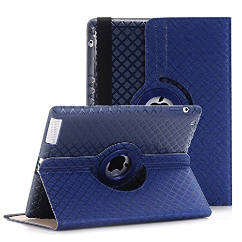 QBeau Apple Ipad 2/3/4 Case Cover 360 Degree Rotating Stand PU Leather Protective Flip Folio Detachable Soft Silicone Rubber Cover for Apple Ipad 2nd/3rd/4th Generation with Card Slot,Navy Blue