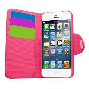Samrick Executive - Funda de piel tipo libro para Apple iPhone 5, 5G y 5S (con tarjetero), color rosa