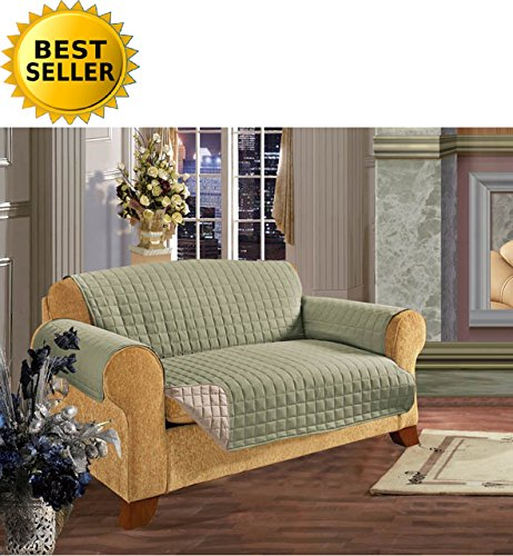 #1 Best Seller Reversible Furniture Protector! Elegance Linen® Luxury Slipcover/Furniture Protector Great for Pets & Children with STRAPS TO PREVENT SLIPPING OFF, Sofa, ()