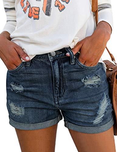 luvamia Women's Ripped Denim Jean Shorts Mid Rise Stretchy Folded Hem Short Jeans Dark Blue Size Small