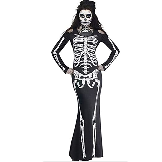 da677a982aa0 Kimloog Women Scary Skeleton Halloween Ghost Costume Cold Shoulder Long  Sleeve Party Maxi Dress (S