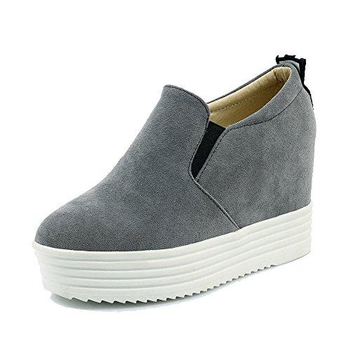 VogueZone009 Damen Ziehen auf Nubukleder Rund Zehe Hoher Absatz Gemischte Farbe Pumps Schuhe Grau