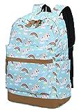 Cheap Teens Backpack for School Girls Boys School Bookbag Laptop Travel Daypack (Unicorn blue T03-1)