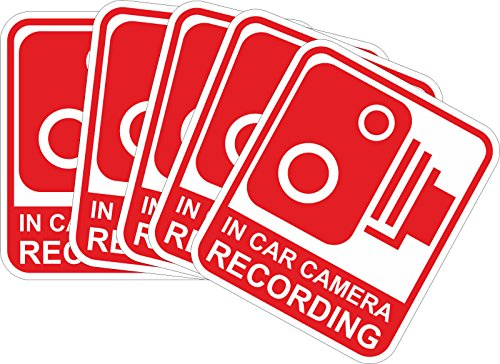 (INDIGOS UG Sticker/Bumper - red - Warnung Safety - Camera Dash Cam Recording Car - 29x25 mm - 5 pieces - JDM/Die cut - Security Signs -CCTV, Car, Van, Truck, Taxi,Mini Cab, Bus, Coach)