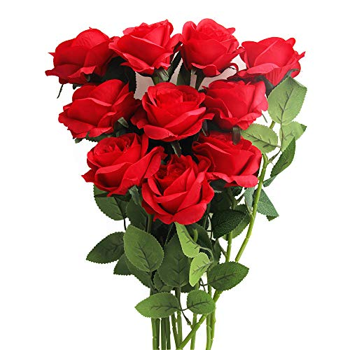 10pcs Artificial Flowers Silk Rose Flowers, Fake Roses Bulk with Silk Leaves and Long Stem, Real Touch Blossom for DIY…
