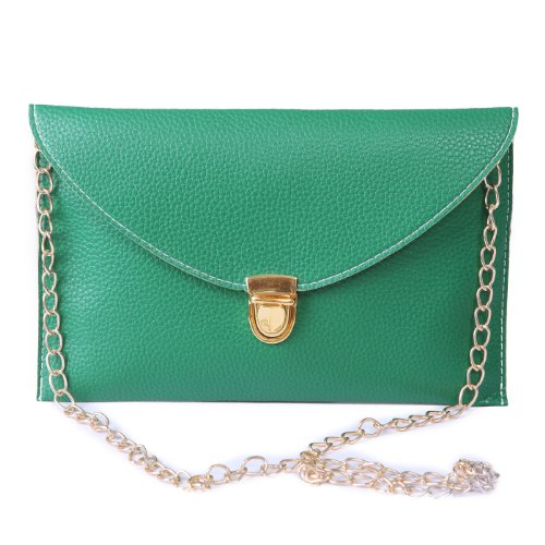 - HDE Women's Bright Crossbody Gold Chain Leather Evening Envelope Clutch Purse