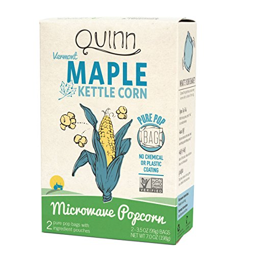 Quinn Snacks Microwave Popcorn - Made with Organic Non-GMO Corn - Great Snack Food for Movie Night - Vermont Maple & Sea Salt, 7 Ounce
