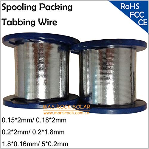 (Jammas Machine Solder Tabbing Wire PV Ribbon for Make Solar Panel, Size: 0.15x2mm,0.182mm, 0.2x2mm,0.21.8mm,1.8x0.16mm, 50.2mm etc)