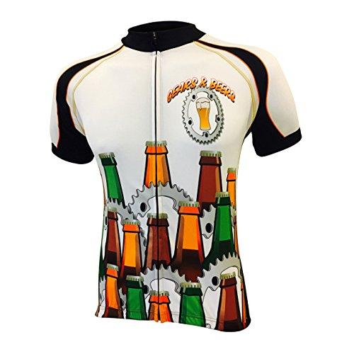 Gears & Beers Men's Bike Jersey, X-Large - Beer Short Sleeve Cycling Jersey