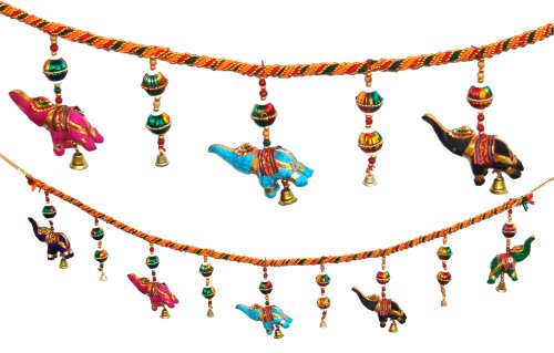 Elephant Decorated Brass (Door Hanging Decorative Cotton Elephants & Globulars in Vibrant color with Beads and Brass Bell)