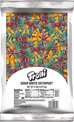 (Trolli Sour Brite Octopus, 5 Pound Resealable Bulk Candy Bag Sour Gummy)