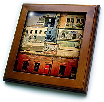 3drose Ft 56007 1 Rooftops Brooklyn Grunge Graffiti Framed Tile 8 By 8 Inch Home Kitchen