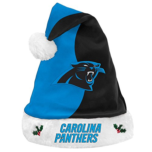 Santa Panthers Hat (Carolina Panthers 2017 NFL Basic Logo Plush Christmas Santa Hat)