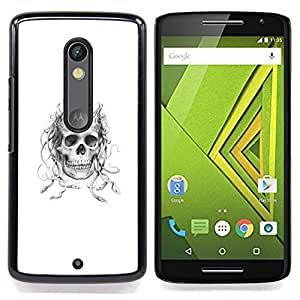 - Horned Medusa Skull - - Cubierta del caso de impacto con el patr??n Art Designs FOR Motorola Verizon DROID MAXX 2 / Moto X Play Queen Pattern