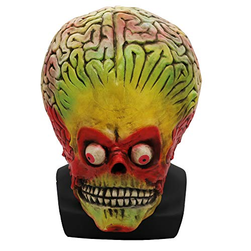 (Mars Attacks Full Head Adult Latex Mask Cosplay Halloween Alien Costume)