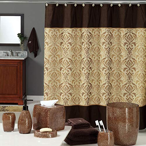 DS BATH Sterling Brown Shower Curtain,Chocolate Polyester Fabric Shower Curtain,Vintage Shower Curtains for Bathroom,Damask Bathroom Curtains,Print Waterproof Shower Curtain,72