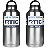 RTIC 64oz Bottle Each (PACK OF 2) .Stainless Steel, Double Wall Vacuum insulated. Air Tight Seal/No Sweat Exterior/18/8 Stainless Steel