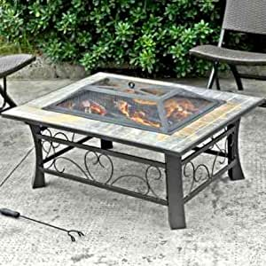 Rectangular Fireplace,Top Fire Pit, Outdoor, Steel
