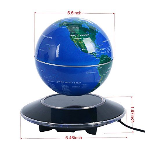 Homend 6'' Magnetic Levitation Floating Globe World Map Light Decor Anti Gravity Rotating World Map with 8 LED Blue Globe for Educational Gift Home Office Desk Decoration (Blue)