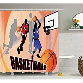 Sports Decor Shower Curtain Set By Ambesonne, Basketball Action Players On  Abstract Background Classical Poster