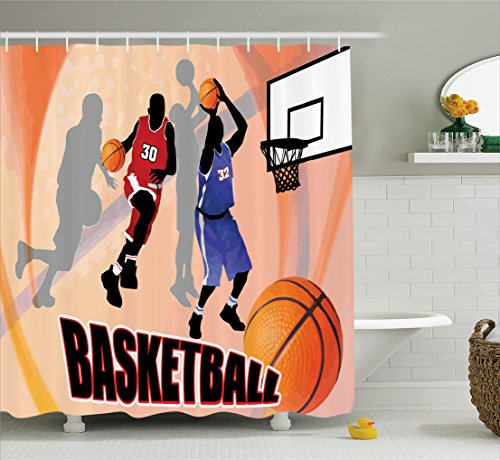 Ambesonne Sports Decor Shower Curtain Set, Basketball Action Players on Abstract Background Classical Poster Style Illustration, Bathroom Accessories, 84 Inches Extralong, Orange - New 07 Basketball