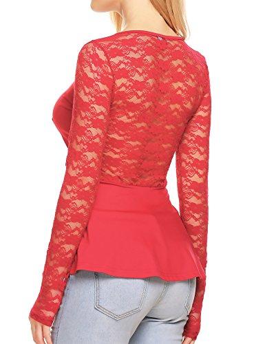 Unibelle Women's Long Sleeve Lace Patchwork Slim Fit Peplum Top Shirt