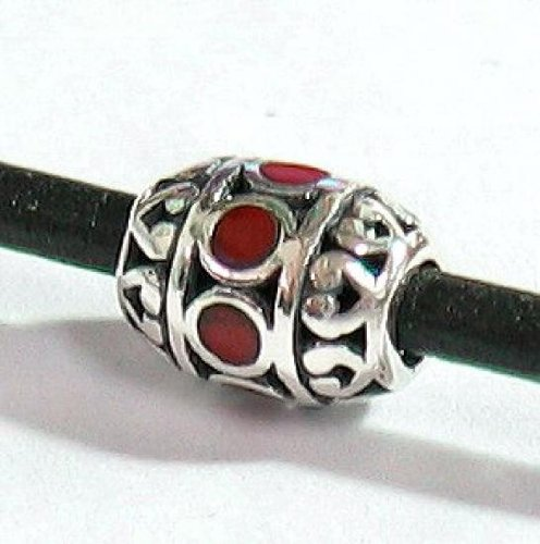 (1 pc .925 Sterling Silver Focal Barrel Bead With Red Stone 10mm / Findings / Bright)
