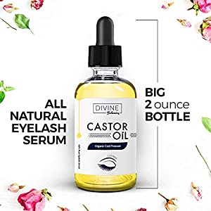 Big 2 oz Pure Organic Castor Oil With Set of 10 Brushes for Eyeliner & Eyelash Growth Serum - Grows Longer, Thicker Eyelashes & Beautiful Eyebrows. Rich in Vitamin E, Triglycerides, Minerals, Proteins