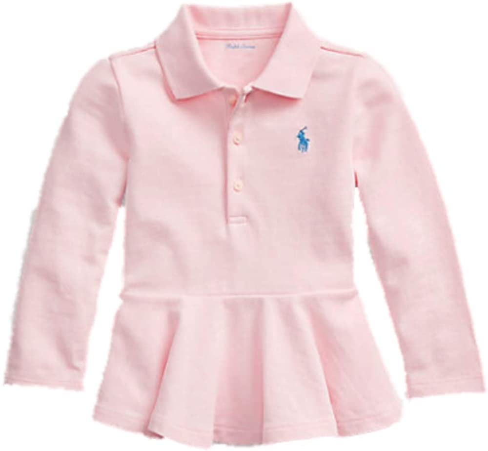 Ralph Lauren Baby Girls Long Sleeved Polo Shirt Age 6 mths Soft Pink