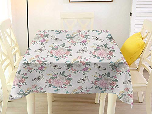 L'sWOW Camping Square Tablecloth Shabby Chic Peonies Sweet Peas Roses Bouquet and Butterflies Pastel Tones Bridal Theme Pale Pink Green Stripe 60 x 60 Inch ()