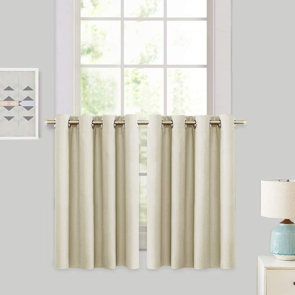 RYB HOME Blackout Curtain Tiers - Thermal Insulting Half Window Decor for Bedroom Bathroom Kitchen Kids Nursery Privacy Drapes, Beige, W 52 x L 36, 2 Panels