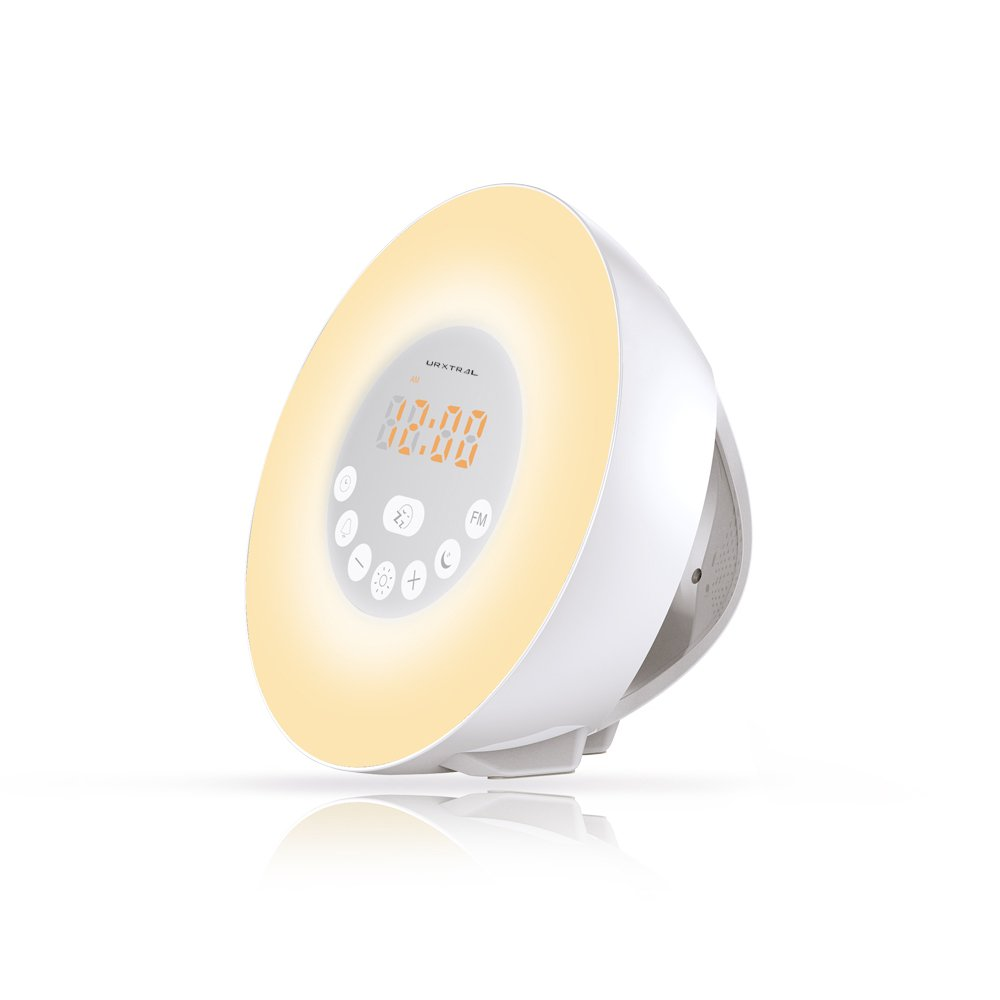 URXTRAL Wake Up Light Luz de despertar, Luces-despertador, Sunrise Simulación Wake-Up Luces despertar Sunrise Alarm Clock, luz de despertador, la naturaleza suena FM Radio, 7 colores / 10 de brillo, Touch Control Sunset & Snooze
